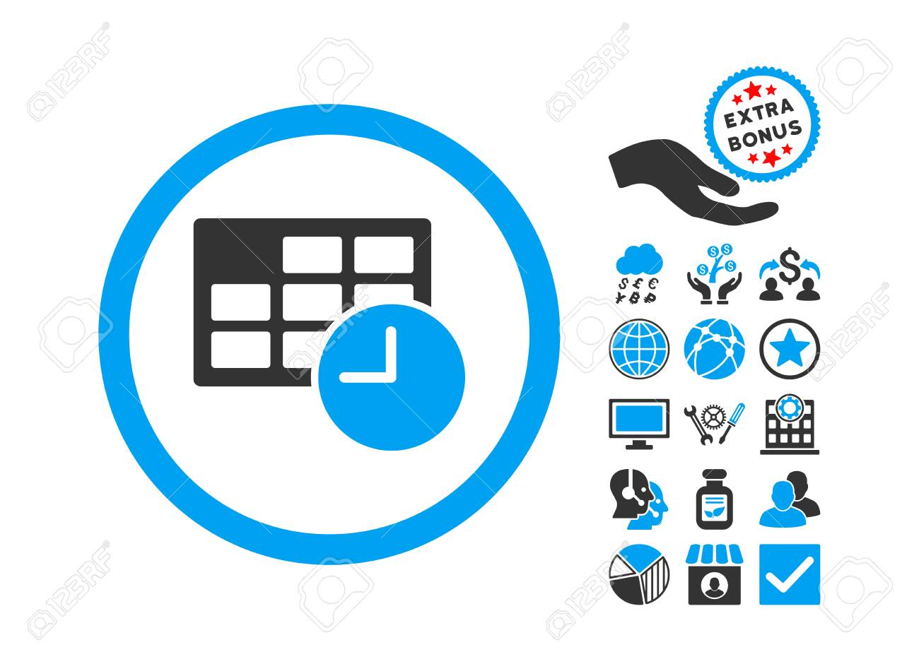 Date and Time icon with bonus clip art. Vector illustration style...