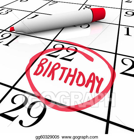 Clip Art Birthday Calendar Day Circled Date Marker Stock Top Fresh.