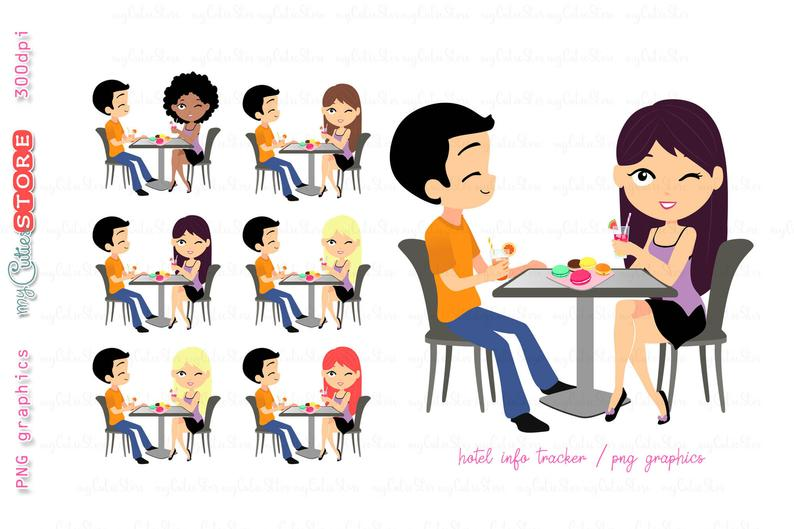 Date night clipart meeting graphics great for planner stickers.