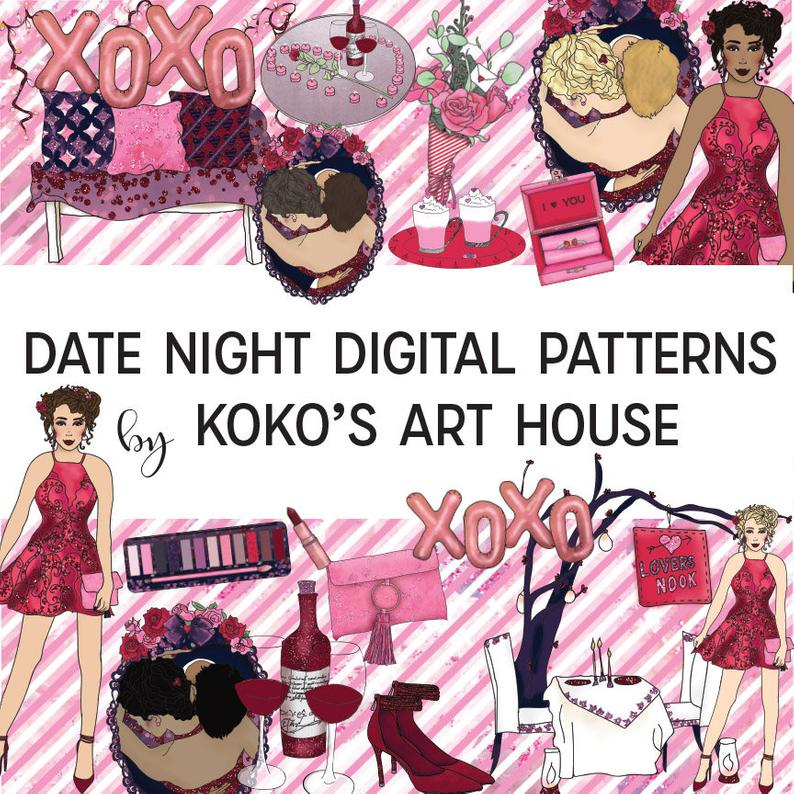 Date Night Clipart, Fashion Girls, Valentines, Romance, Love, Hearts,  Roses, Glitter graphic digital Clip Art, Planner Stickers.