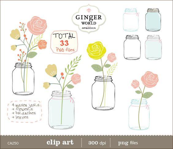 Mason Jar clip art, Flowers clipart, pink rose flower, instant.