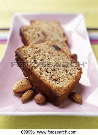 Stock Image of Almond,hazelnut and date cake 099995.
