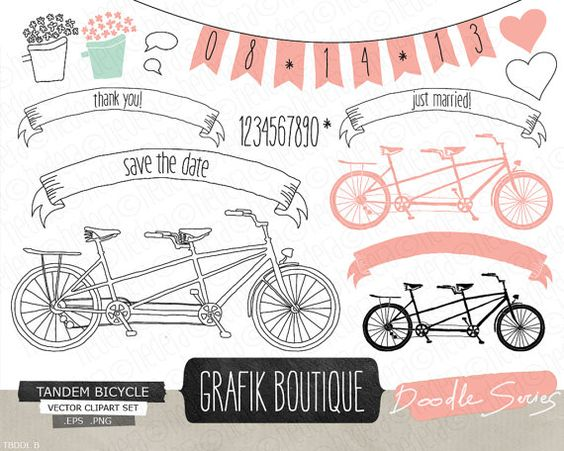 Tandem bicycle pink hand drawn vector clip art, wedding, flowers.