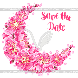 Decoration with sakura or cherry blossom. Save date.