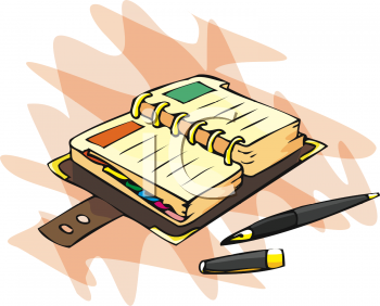 Clipart Picture of an Organizer and Ball Point Pen.