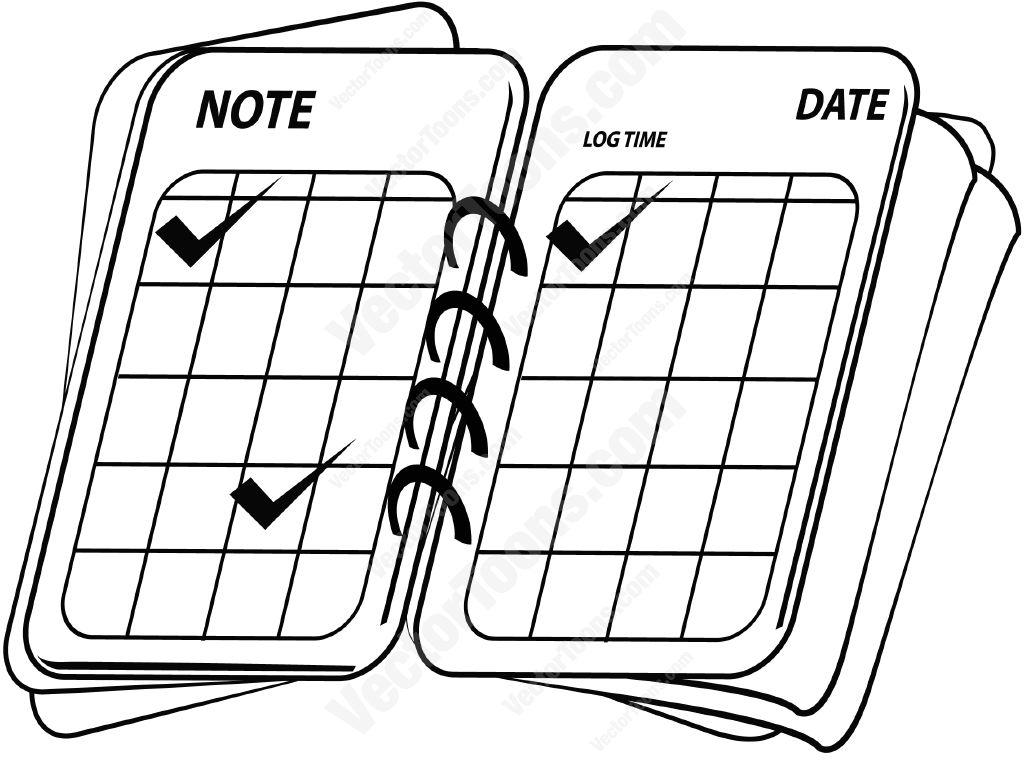 Open Date Book Cartoon Clipart.