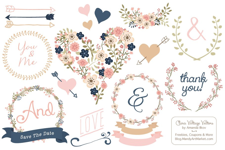Vector Navy & Blush Vintage Flowers ~ Illustrations.