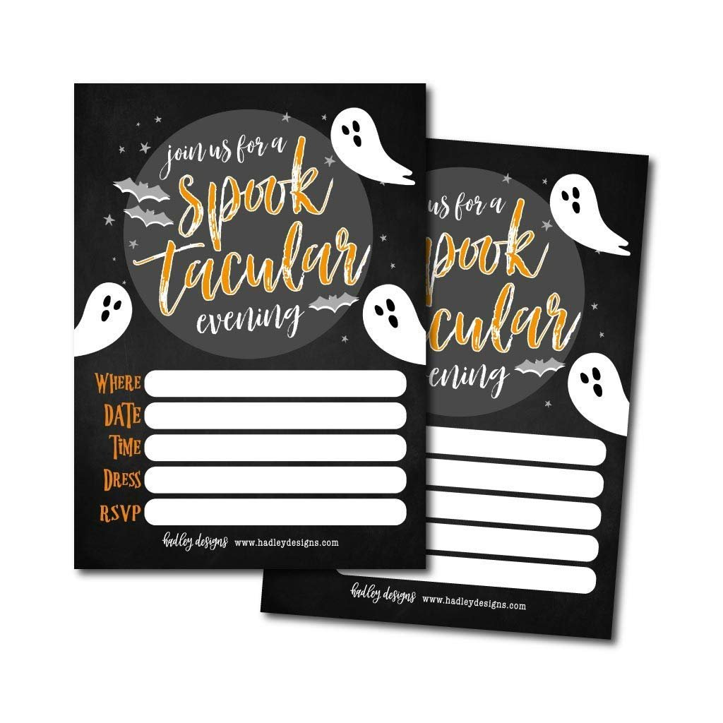 25 Ghost Halloween Party Invitation Cards for Kids Adults, Vintage Birthday  or Wedding Bridal Baby Shower Paper Invites, Scary White Costume Dress up,.