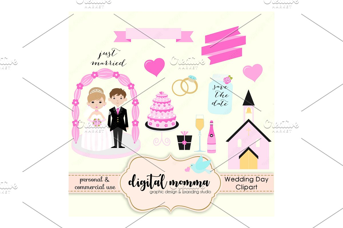 Wedding, Save The Date Clipart Set.