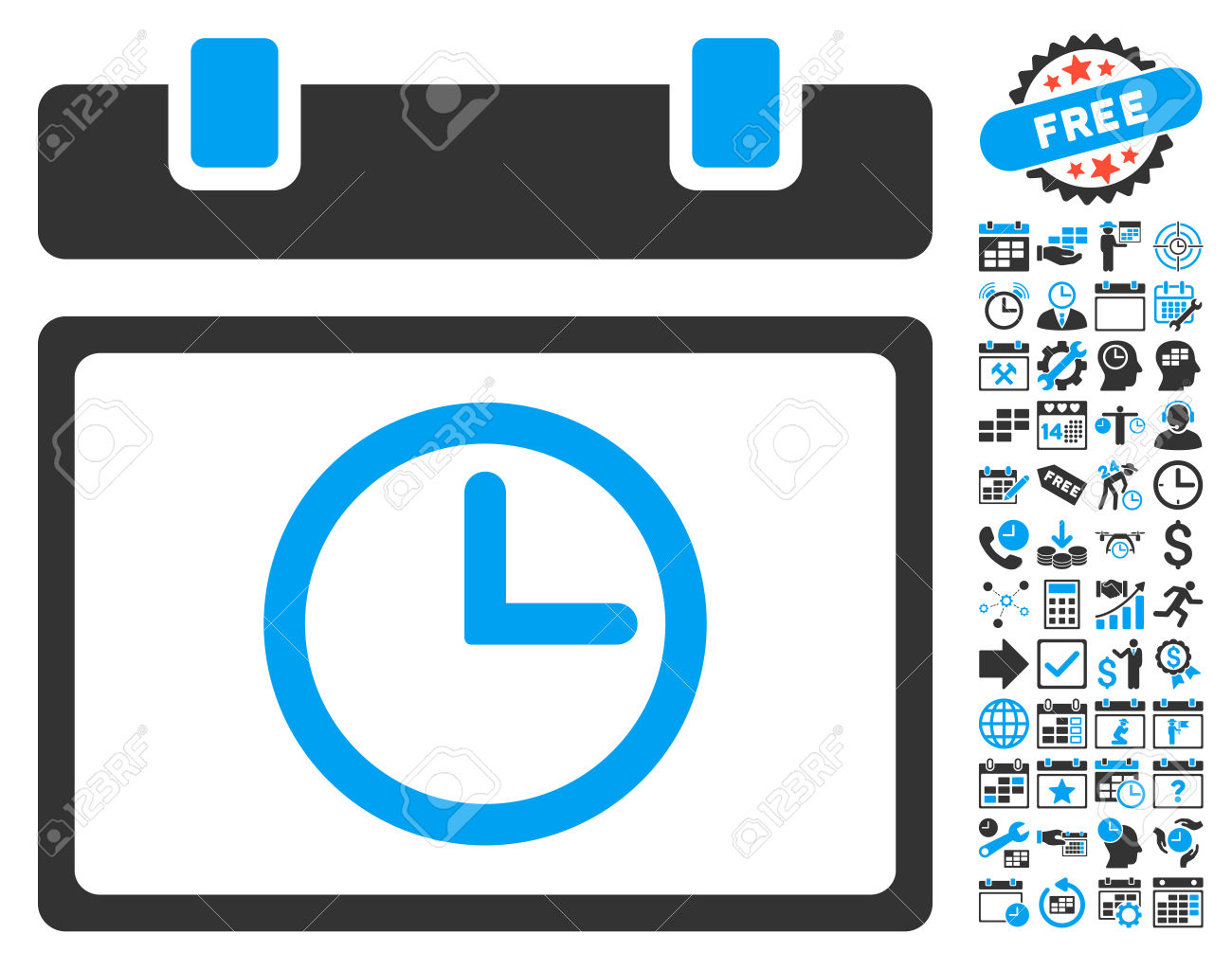 Date Time Icon With Bonus Calendar And Time Management Clip Art.