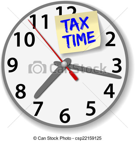 Vector Illustration of Tax Time Clock taxes due date.