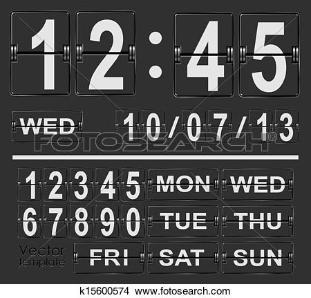 Clipart of Table flip clock display vector template with time and.