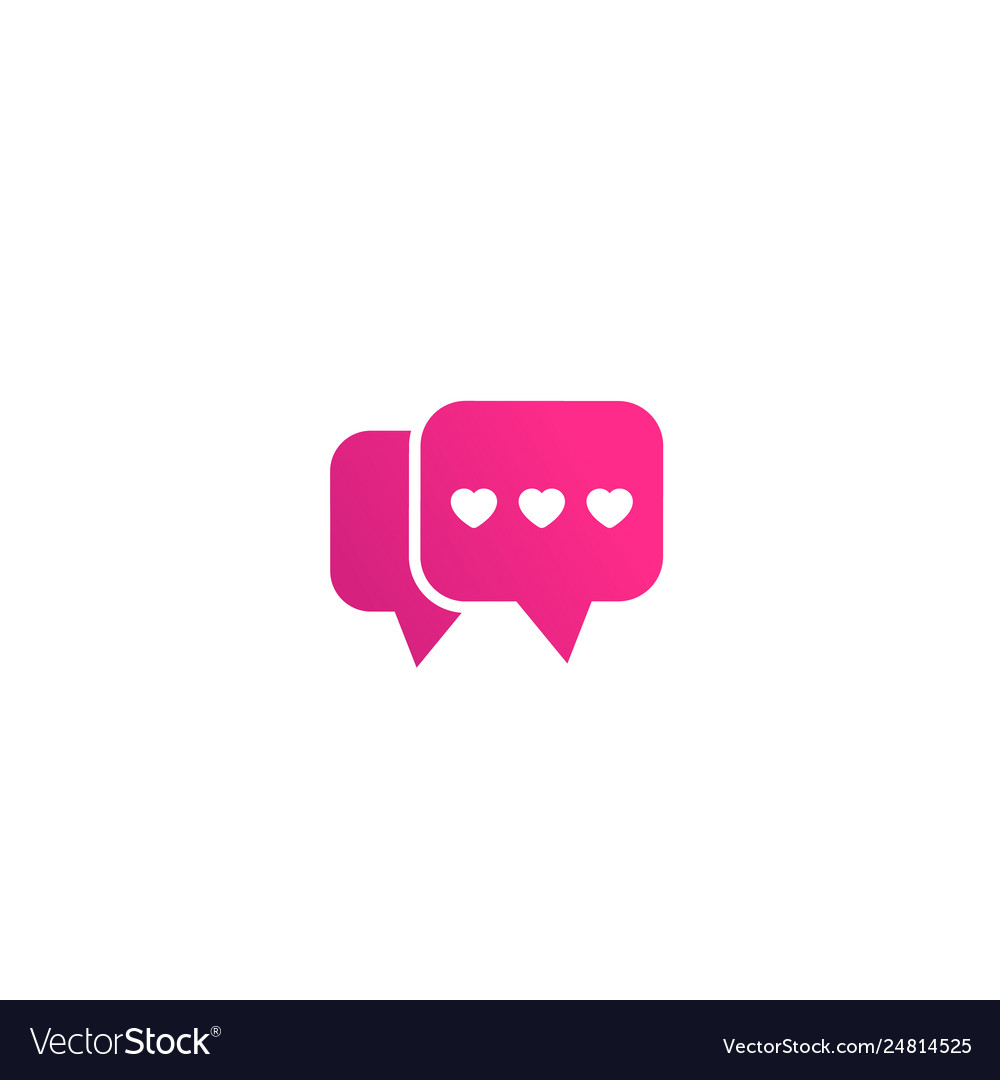 Dating app love chat logo icon on white.