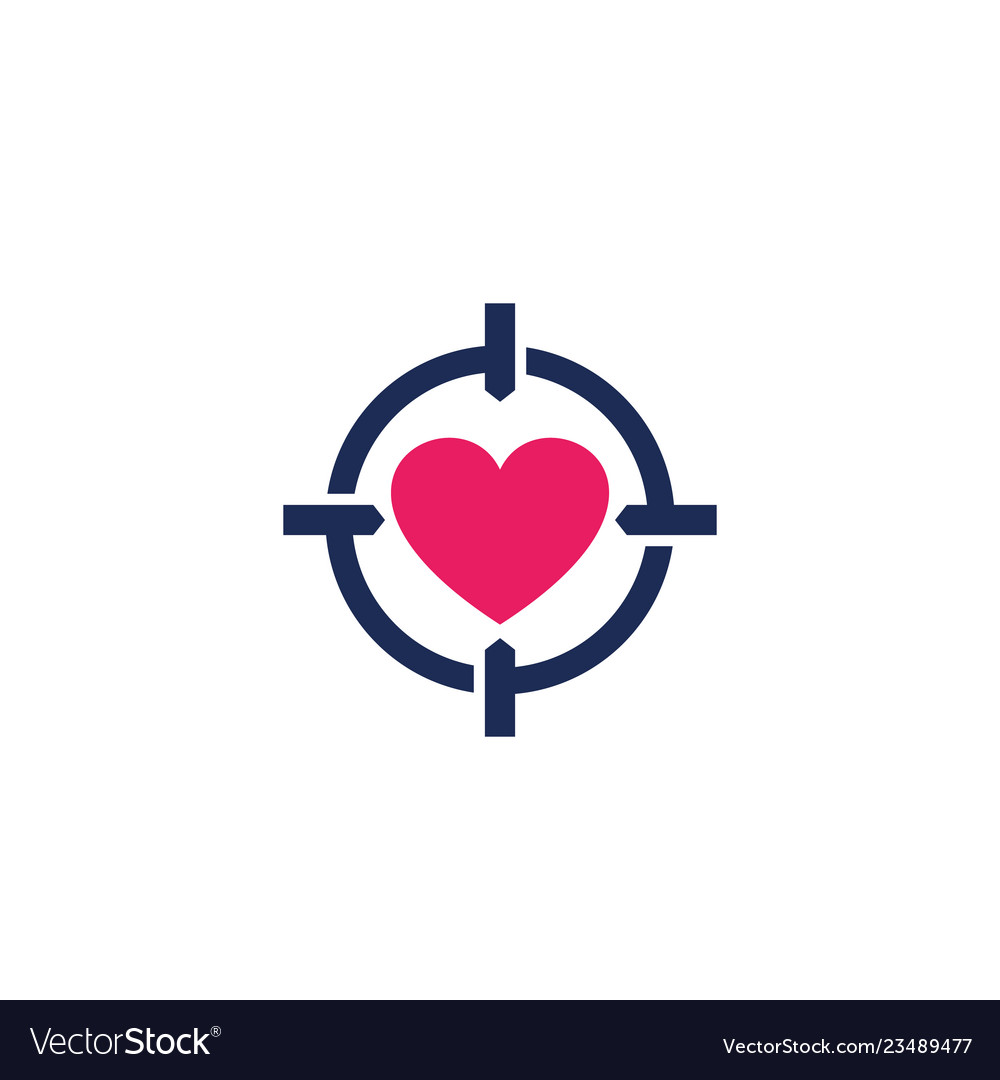 Dating app logo love search heart and crosshair.