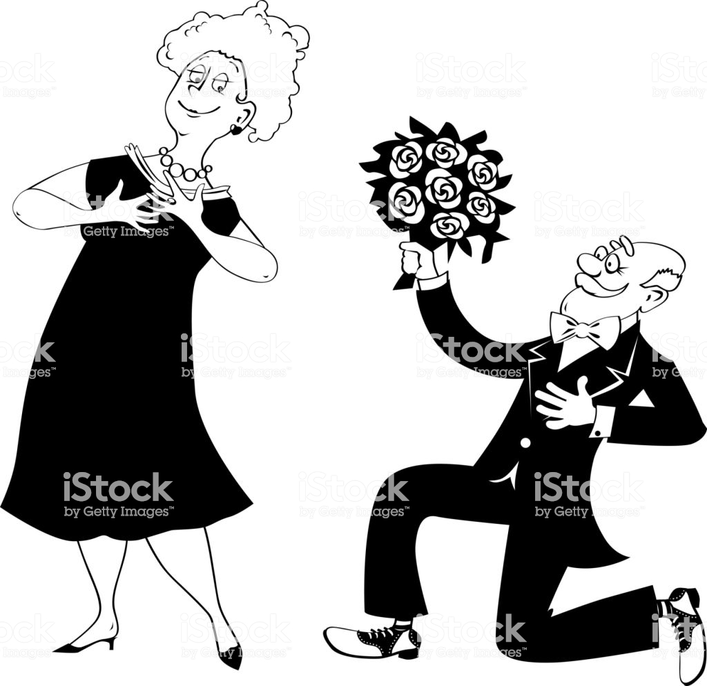 Seniors Dating Clipart Stock Illustration.