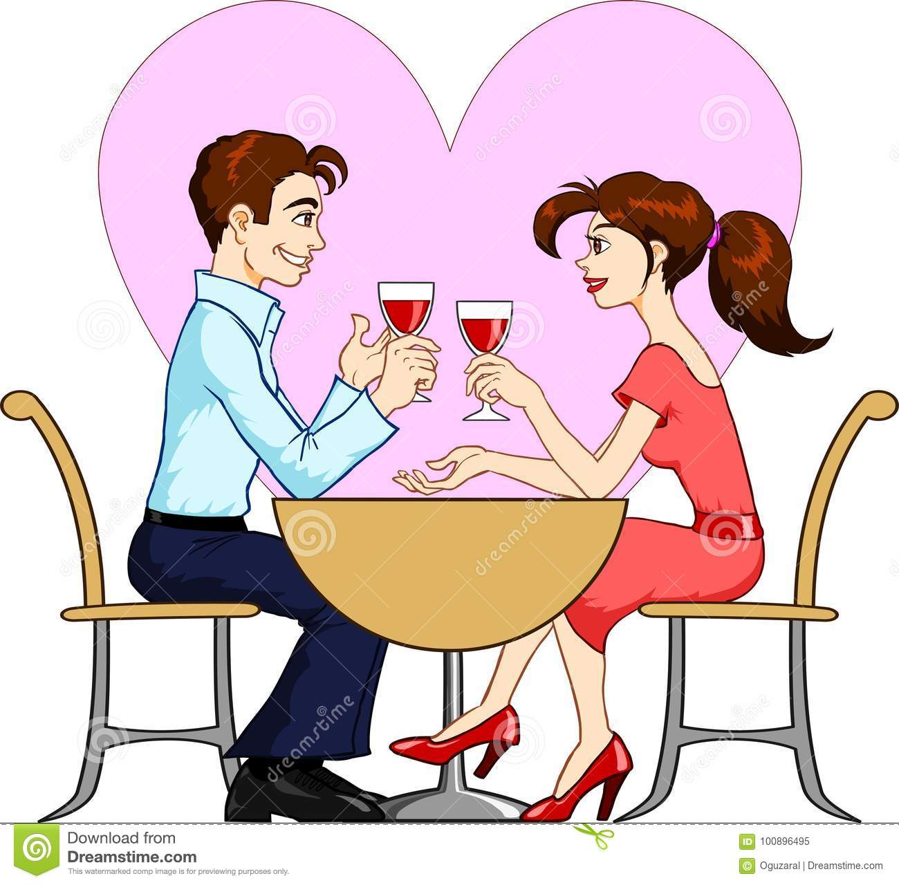 Dating Couple stock vector. Illustration of drink, enjoying.