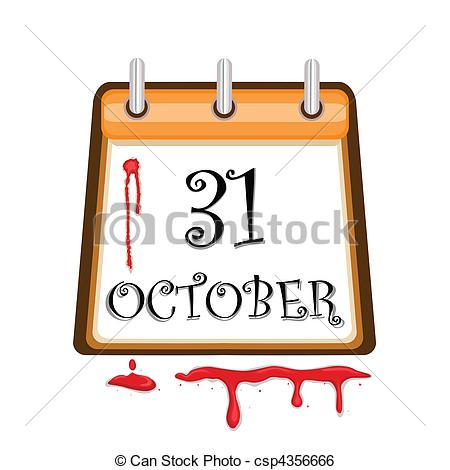 Clip Art Vector of Halloween Bloody Calendar Date.