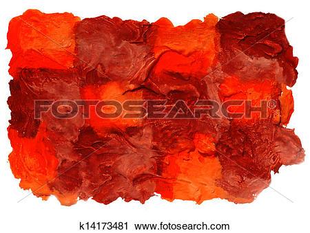 Clipart of art daub watercolor brown orange square ornament.