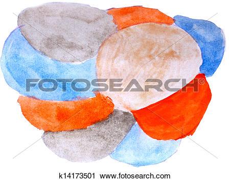 Clipart of art daub watercolor orange blue pattern ornament.