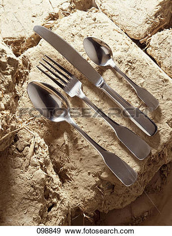 Stock Photograph of Cutlery on daub 098849.