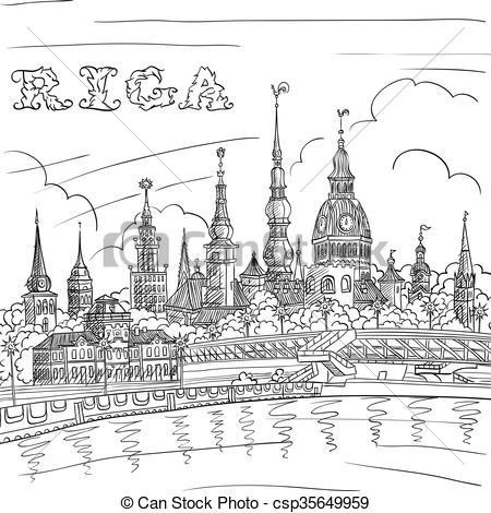Clipart Vector of Old Town and River Daugava, Riga, Latvia.