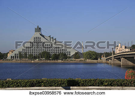 """Stock Images of """"National Library of Latvia, Daugava River, Stone."""