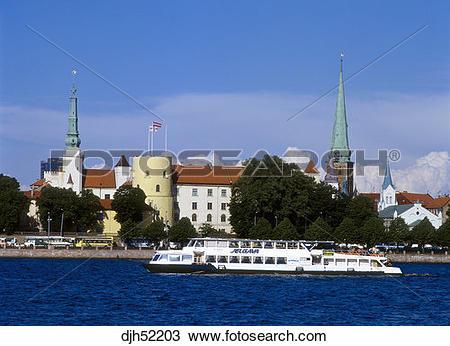 Stock Photo of Riga Castle, St, John's Church, Cruise Ferry.