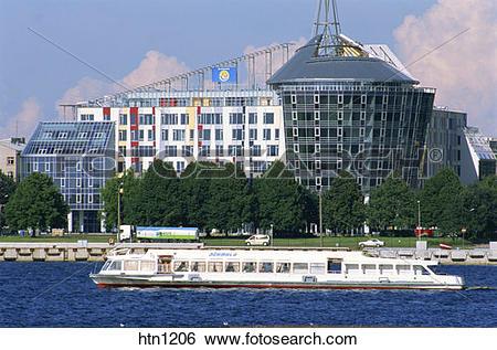 Stock Images of Cruise Ship, Daugava River, Riga, Latvia htn1206.