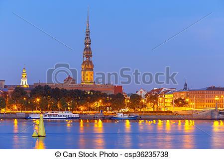 Stock Photos of Old Town and River Daugava at night, Riga, Latvia.