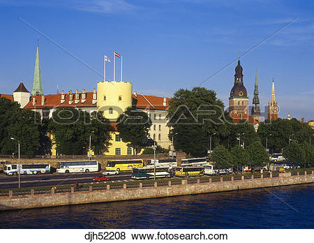 Pictures of Traffic, Western Tower, Riga Castle, St, John's Church.