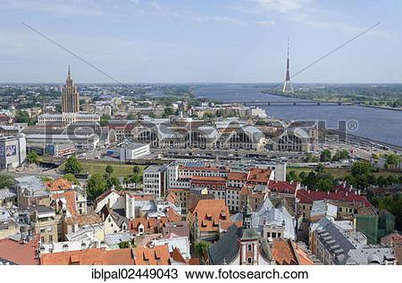 "Stock Photo of ""Skyline, Daugava, market halls, historic town."