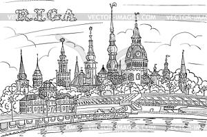 Old Town and River Daugava, Riga, Latvia.