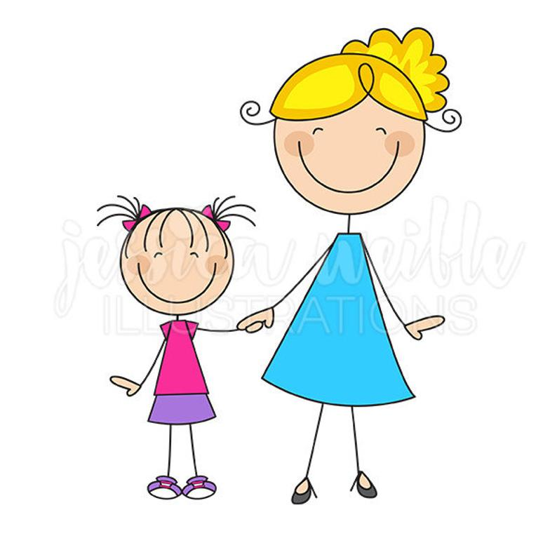 Mom and Daughter Stick Figures Cute Digital Clipart.