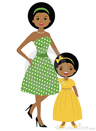 Clipart mom and daughter.