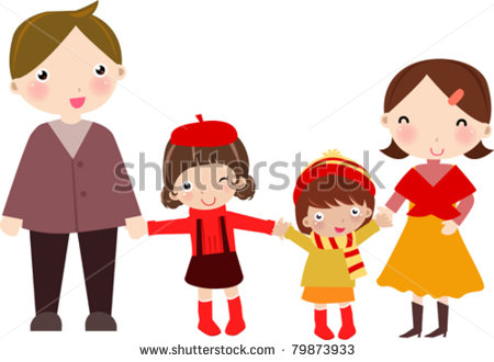 Family With Two Daughters Clipart.