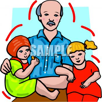 Royalty Free Clipart Image: Man With His Two Small Daughters.