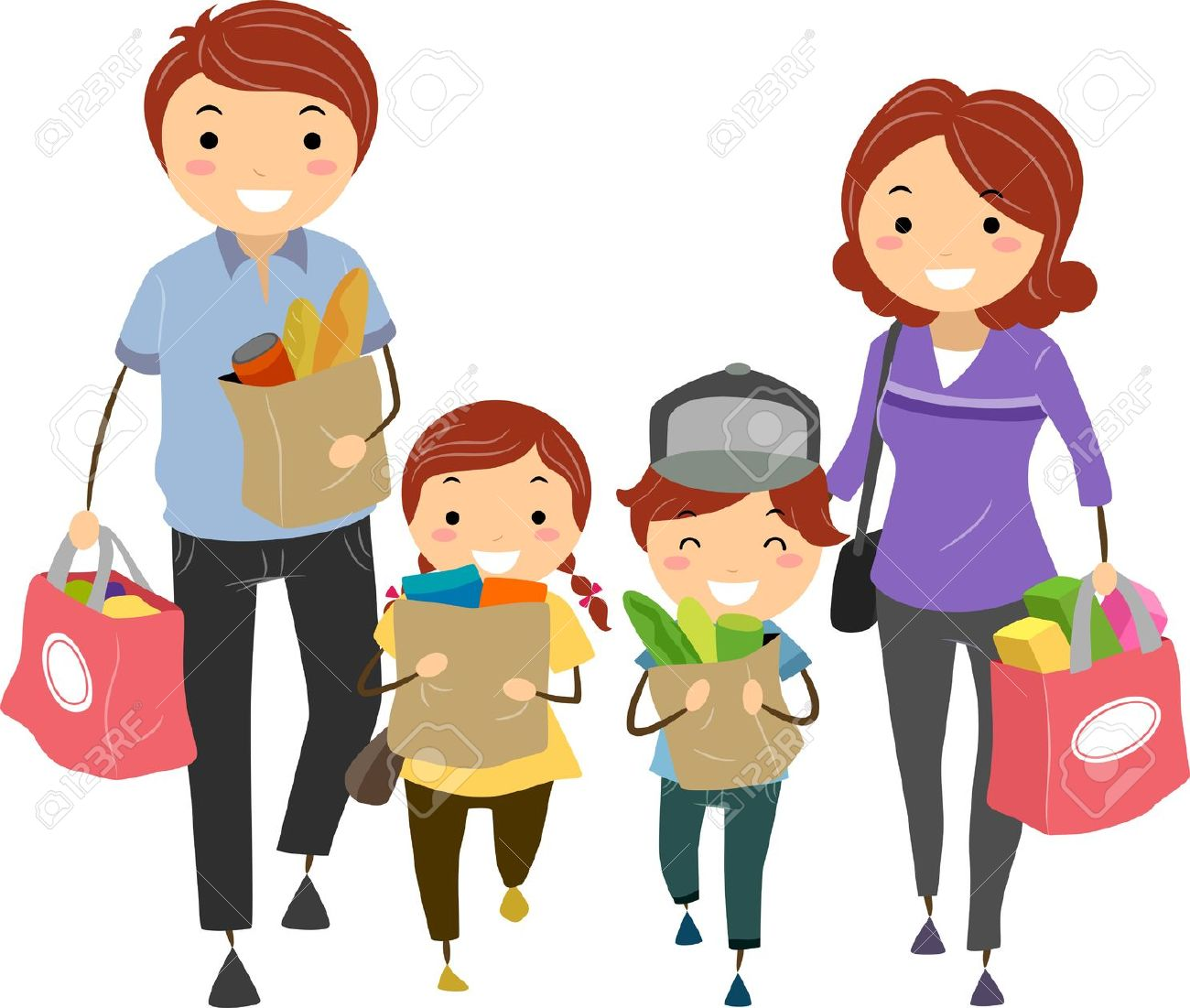 Family Clipart 4 People 2 Daughters info.