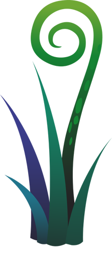 Gambar tanaman pakis biru dan hijau.