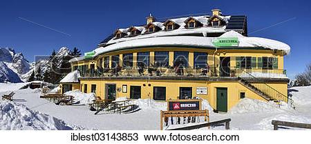 "Stock Photo of ""DAV ski and mountain hut at Kreuzeck, Adolf."