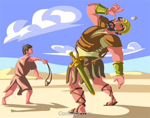 David and Goliath Royalty Free Vector Clip Art illustration.