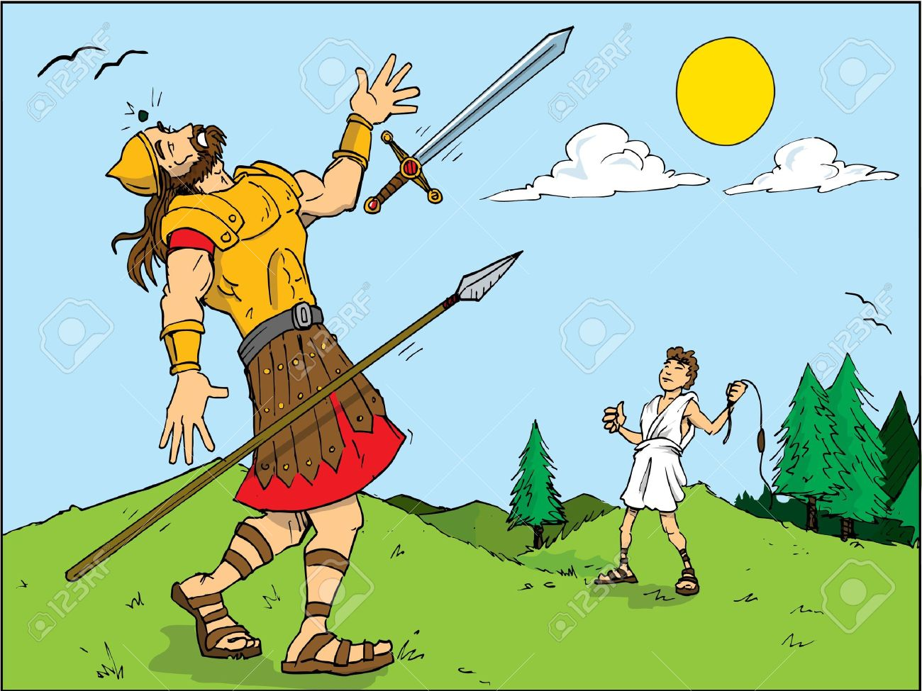Cartoon of Goliath defeated by David. Bible story.