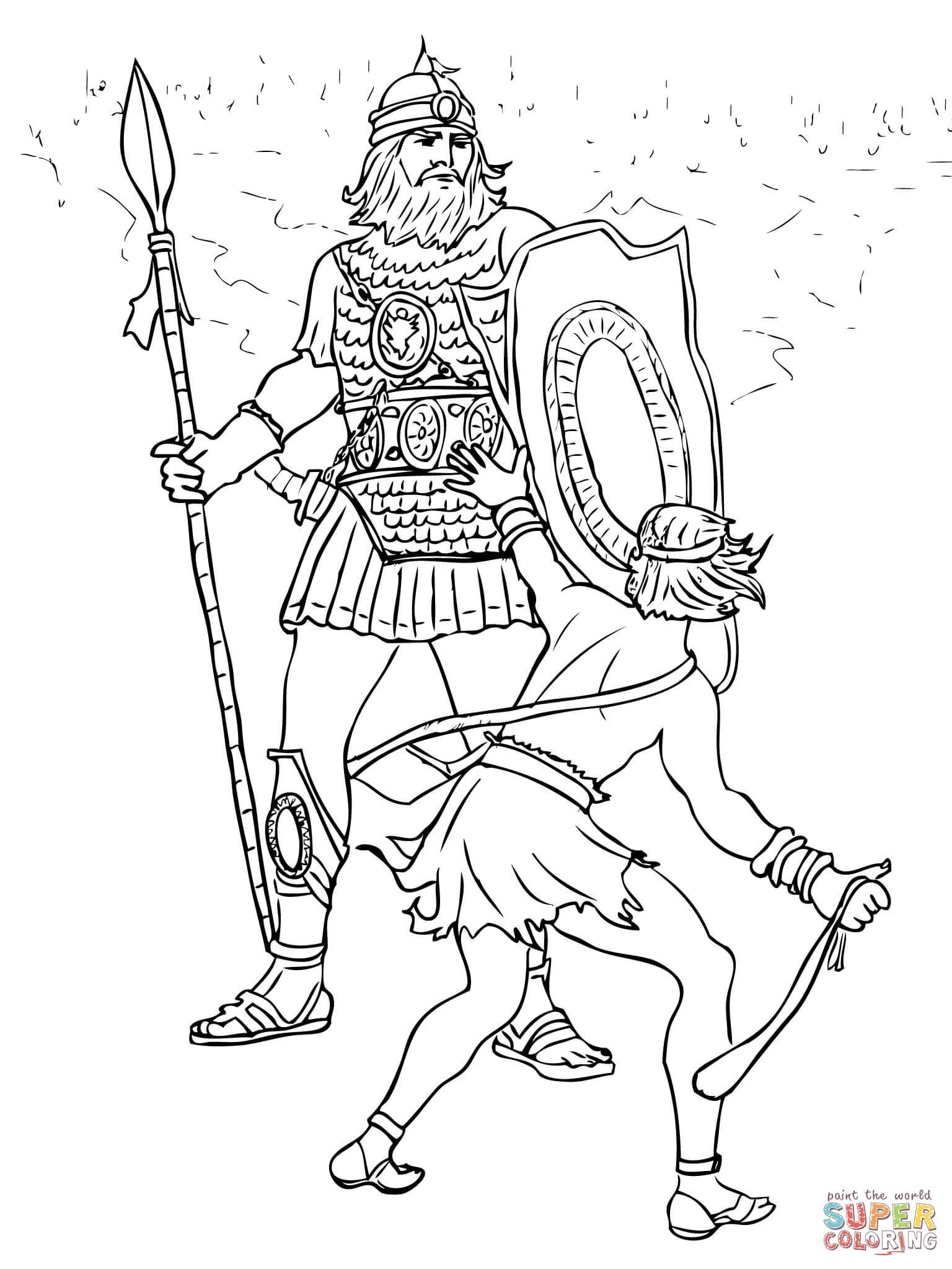 David and Goliath Fight coloring page.