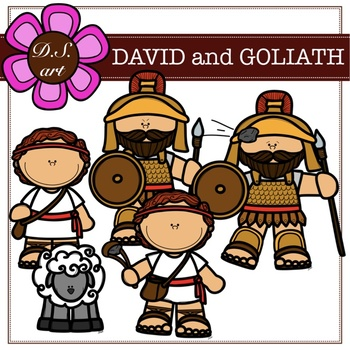 David and Goliath Digital Clipart (color and black&white).