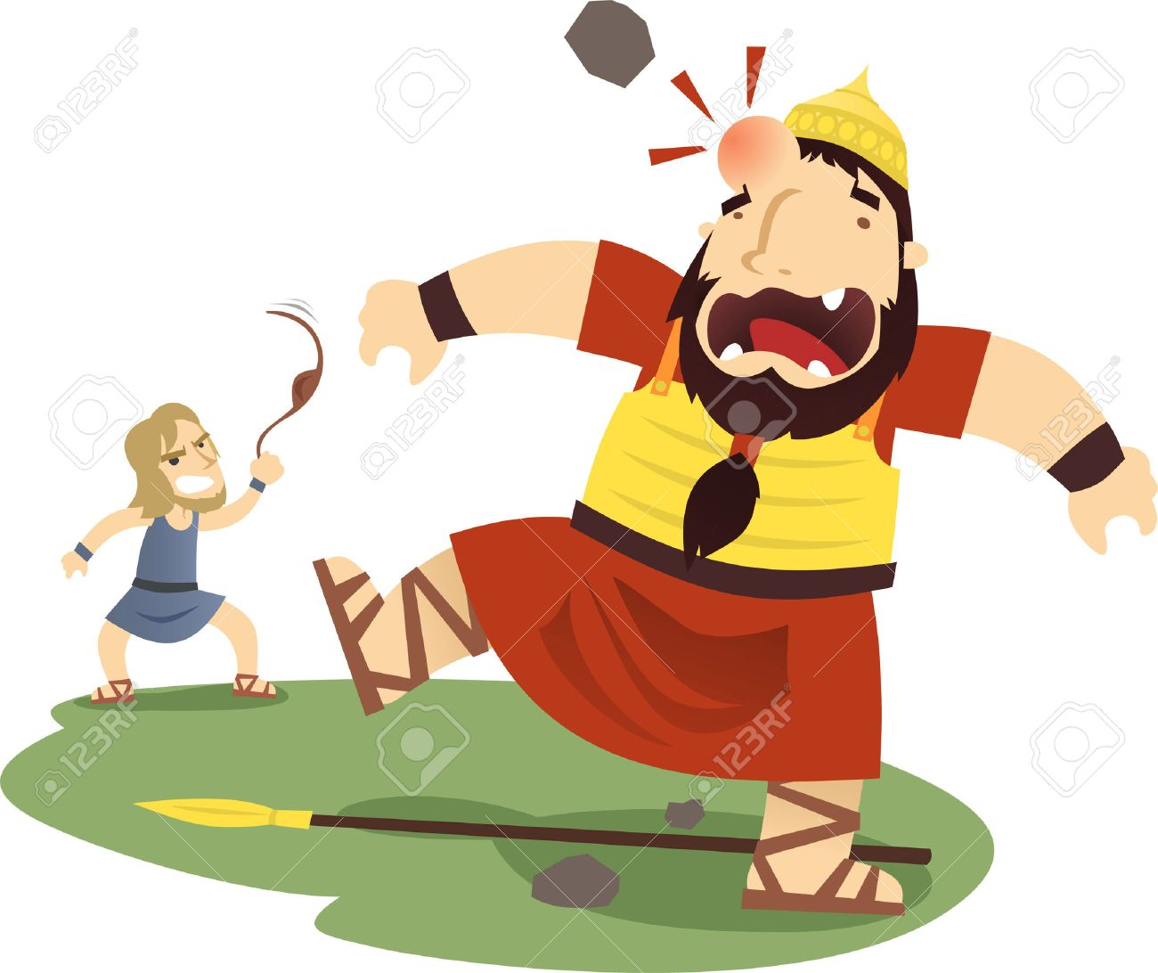 David and Goliath cartoon illustration.