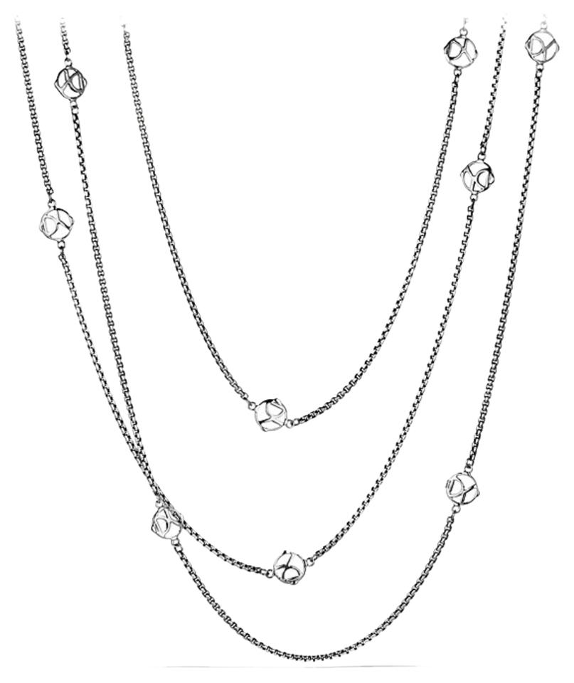David Yurman Sterling Silver Dy Logo Station Chain Necklace 24% off retail.