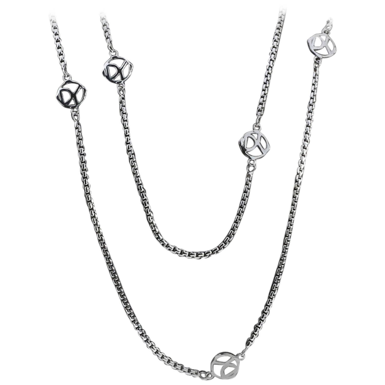 David Yurman 36 Inch 6 Station Logo Box Chain Necklace at.