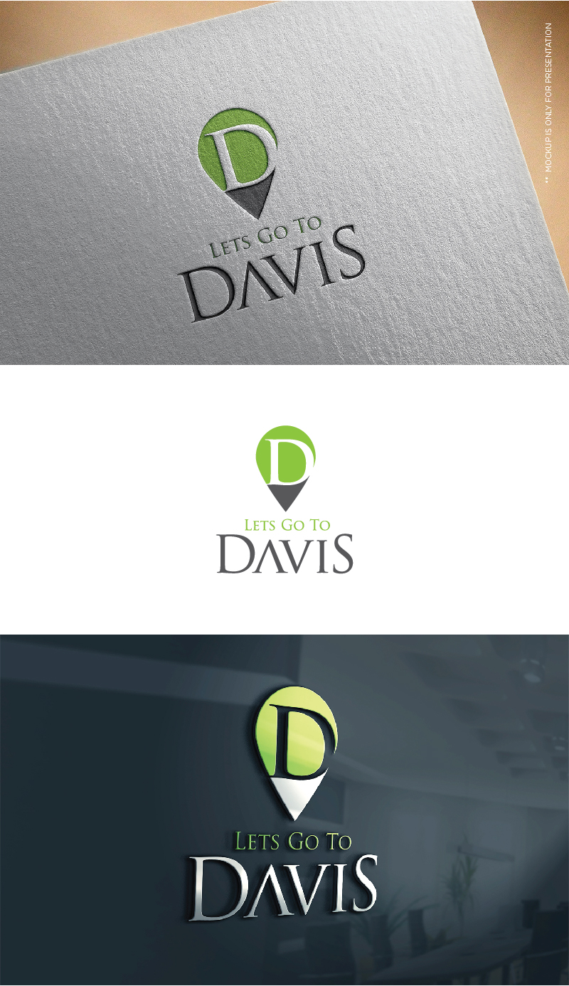 Elegant, Playful Logo Design for Lets Go To Davis or Visit.