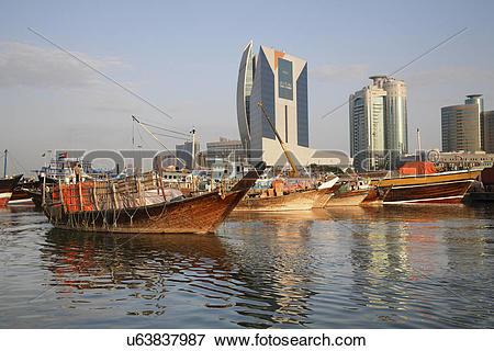 Picture of United Arab Emirates, Dubai, Dubai Creek. A boat trawls.