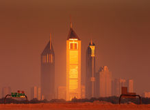 Dubai Skyline As Seen From Business Bay Shot Just Before Dawn.