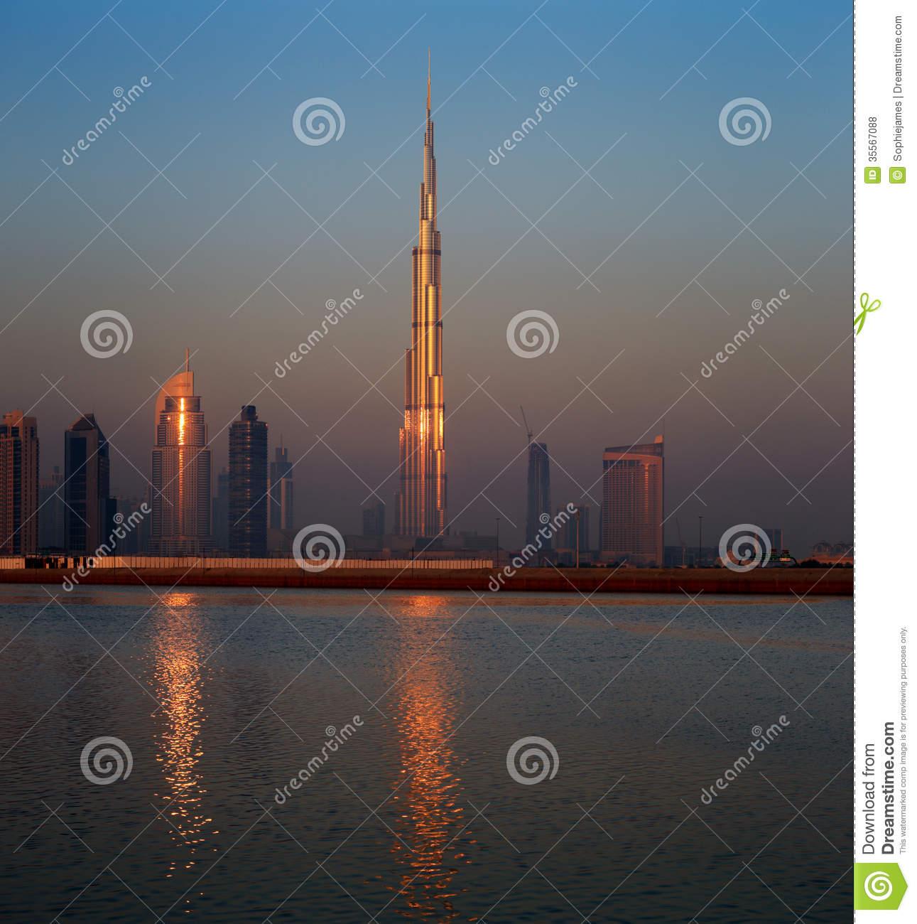 Dubai Cityscape At Dawn Stock Photo.
